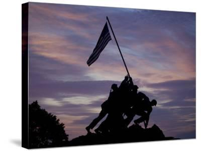 US Marine Corps Memorial is Silhouetted Against the Early Morning Sky in Arlington, Virginia--Stretched Canvas Print