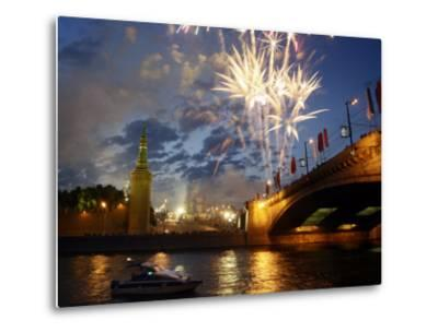 Fireworks Explode over the Kremlin, with St. Basil's Cathedral, Marking the Day of Russia in Moscow--Metal Print