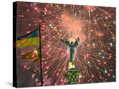 Fireworks Explode Behind the Independence Column, after a Huge Opposition Rally in Kiev--Stretched Canvas Print
