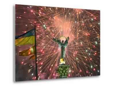 Fireworks Explode Behind the Independence Column, after a Huge Opposition Rally in Kiev--Metal Print