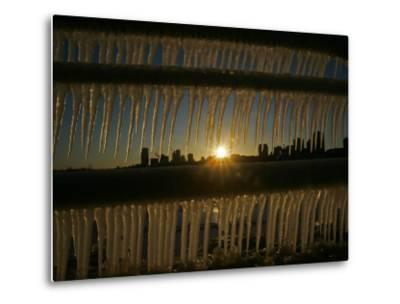 Sun Sets on a Sub Zero Day Behind the Skyline of Milwaukee--Metal Print