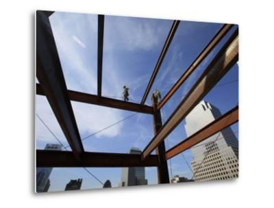 Ironworker Walks a Beam Above the 24th Floor of One World Trade Center in New York--Metal Print