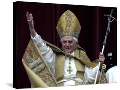 Pope Benedict XVI Waves to Pilgrims and Faithful fromSt. Peter's Basilica at the Vatican--Stretched Canvas Print