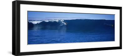 Surfers in the Sea, Tahiti, French Polynesia--Framed Photographic Print