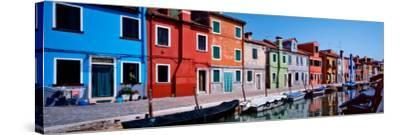 Houses at the Waterfront, Burano, Venetian Lagoon, Venice, Italy--Stretched Canvas Print