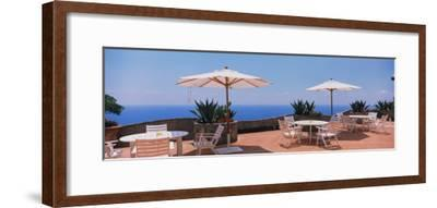 Patio Umbrellas in a Cafe, Positano, Amalfi Coast, Salerno, Campania, Italy--Framed Photographic Print