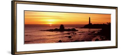Silhouette of a Lighthouse at Sunset, Pigeon Point Lighthouse, San Mateo County, California, USA--Framed Photographic Print