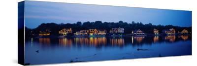 Boathouse Row Lit Up at Dusk, Philadelphia, Pennsylvania, USA--Stretched Canvas Print