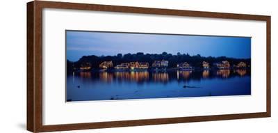Boathouse Row Lit Up at Dusk, Philadelphia, Pennsylvania, USA--Framed Photographic Print