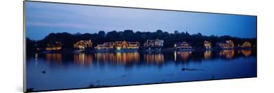 Boathouse Row Lit Up at Dusk, Philadelphia, Pennsylvania, USA--Mounted Photographic Print