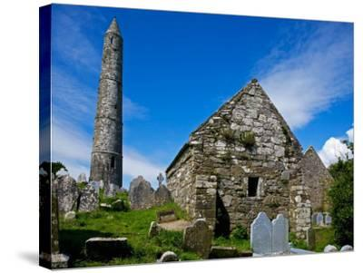 Round Tower and Cathedral in St Declan's 5th Century Monastic Site, Ardmore, Ireland--Stretched Canvas Print
