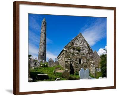 Round Tower and Cathedral in St Declan's 5th Century Monastic Site, Ardmore, Ireland--Framed Photographic Print