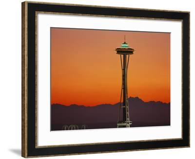 Space Needle and Olympic Mountains at Dusk, Seattle, Washington, USA-David Barnes-Framed Photographic Print