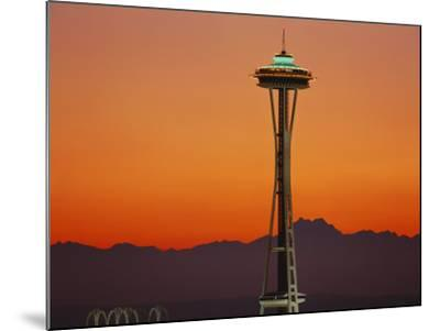 Space Needle and Olympic Mountains at Dusk, Seattle, Washington, USA-David Barnes-Mounted Photographic Print