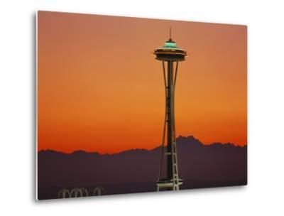 Space Needle and Olympic Mountains at Dusk, Seattle, Washington, USA-David Barnes-Metal Print