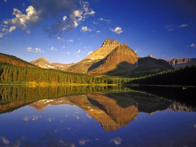 Mt Wilbur Reflects into Fishercap Lake, Many Glacier Valley of Glacier National Park, Montana, USA-Chuck Haney-Framed Photographic Print