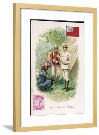A Native Postman Delivers Mail to a British Officer Serving in Natal--Framed Giclee Print