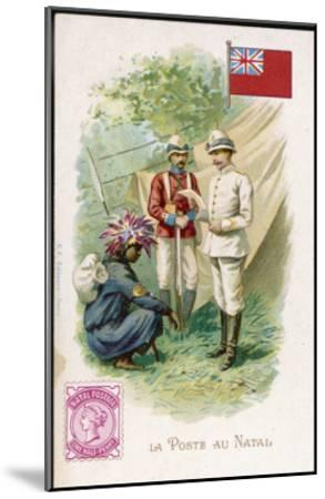 A Native Postman Delivers Mail to a British Officer Serving in Natal--Mounted Giclee Print