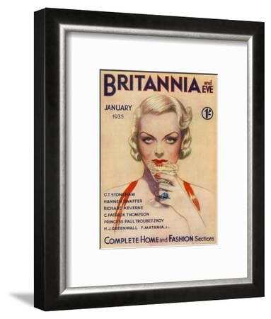 A Vampish Blonde Bombshell Stares Seductively at the Viewer as She Sips a Cocktail--Framed Giclee Print