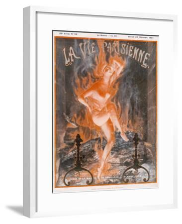 A Naked Woman Dances as Fire on the Burning Wood of a Fireplace--Framed Giclee Print
