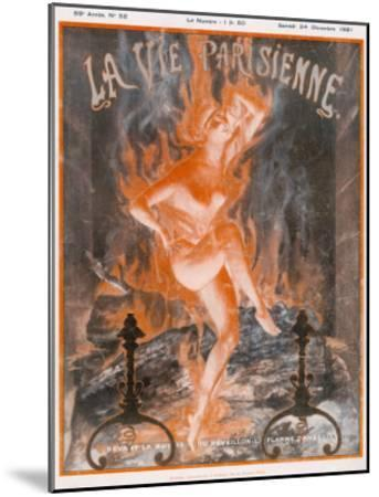 A Naked Woman Dances as Fire on the Burning Wood of a Fireplace--Mounted Giclee Print