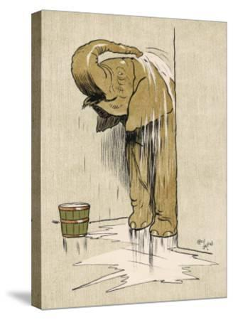 An Elephant Washing Itself with Water from a Bucket--Stretched Canvas Print
