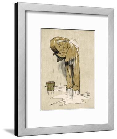 An Elephant Washing Itself with Water from a Bucket--Framed Giclee Print