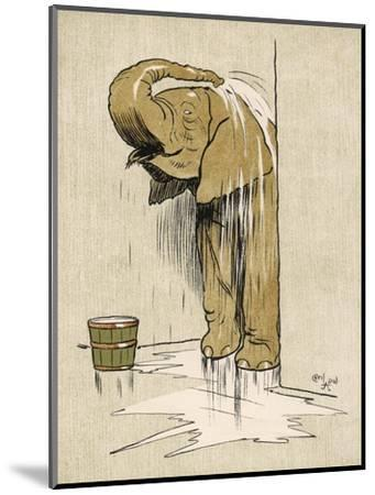An Elephant Washing Itself with Water from a Bucket--Mounted Giclee Print