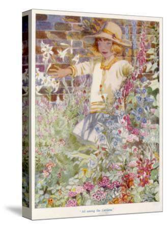 A Young Girl Among a Mass of Flowers Growing in a Garden--Stretched Canvas Print