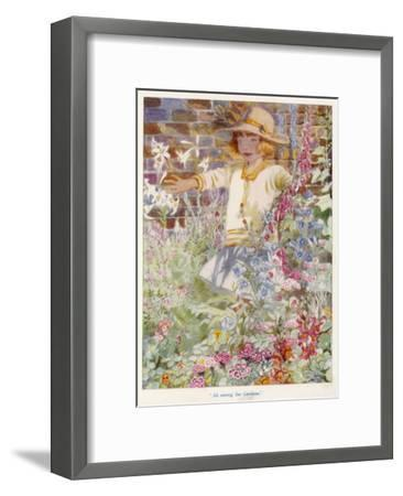 A Young Girl Among a Mass of Flowers Growing in a Garden--Framed Giclee Print