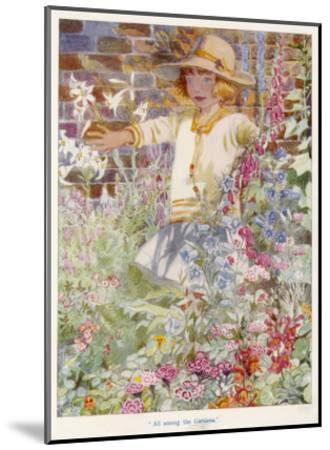 A Young Girl Among a Mass of Flowers Growing in a Garden--Mounted Giclee Print