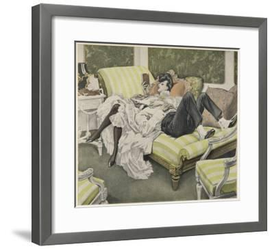 An Old Man with a White Beard and a Young Woman with a Book Relax on a Couch--Framed Giclee Print
