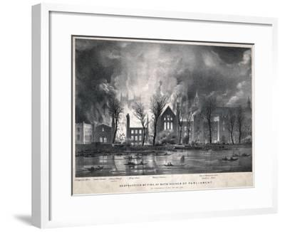 Burning of the Houses of Parliament--Framed Giclee Print