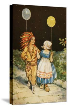 Children's Party American Indian and Dutch Girl--Stretched Canvas Print