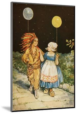 Children's Party American Indian and Dutch Girl--Mounted Giclee Print