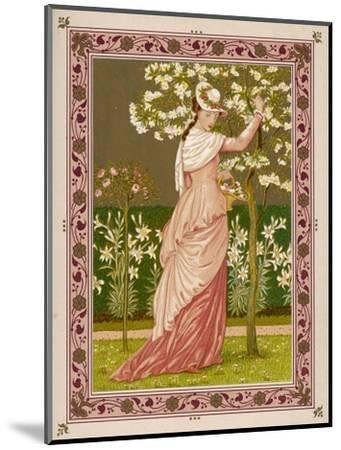 Cherry Ripe: a Pretty Lady in a Pink Dress Stands in Front of a Tree Full of Blossom--Mounted Giclee Print