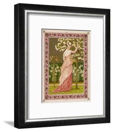 Cherry Ripe: a Pretty Lady in a Pink Dress Stands in Front of a Tree Full of Blossom--Framed Giclee Print
