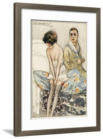 Couple on a Bed: He Looks Rather Serious, But She Appears to Be Giggling--Framed Giclee Print