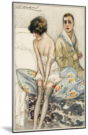 Couple on a Bed: He Looks Rather Serious, But She Appears to Be Giggling--Mounted Giclee Print