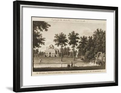 Chiswick House, the Seat of the Duke of Devonshire - View in the Gardens--Framed Giclee Print
