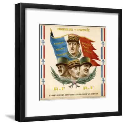 De Gaulle, Leclerc, Catroux and Koenig, Free French Military Commanders--Framed Giclee Print