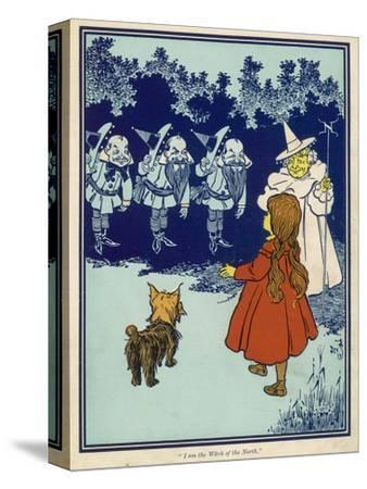 Dorothy and Toto Meet the Good Witch of the North and the Munchkins--Stretched Canvas Print