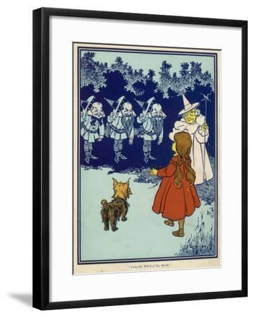 Dorothy and Toto Meet the Good Witch of the North and the Munchkins--Framed Giclee Print