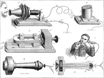 engraving diagram showing alexander graham bells telephone system giclee print by art com  bell telephone system diagram #5