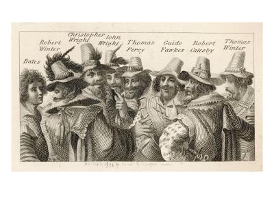 Guy Fawkes - English Gunpowder Plotter with Fellow Conspirators--Framed Giclee Print