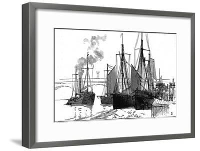 Fishing Smacks at Billingsgate, London, 1882--Framed Giclee Print