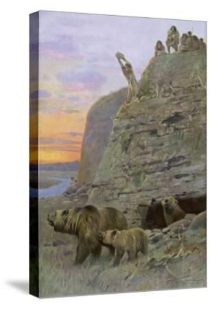 Hunters Attack a Family of Cave-Bears, Hoping to Take over their Home and Become Cave-Men--Stretched Canvas Print
