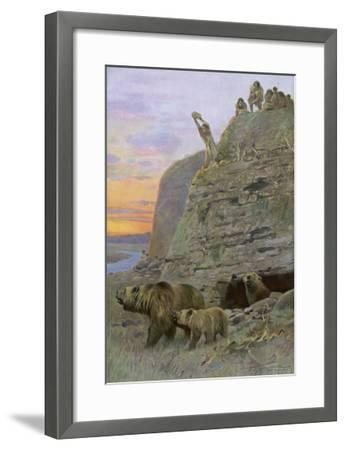 Hunters Attack a Family of Cave-Bears, Hoping to Take over their Home and Become Cave-Men--Framed Giclee Print