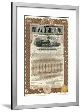 Indiana, Illinois and Iowa Rail Road Company Share Certificate--Framed Giclee Print