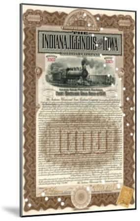 Indiana, Illinois and Iowa Rail Road Company Share Certificate--Mounted Giclee Print